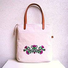 Veľké tašky - Ľanová taška na veľ. A4 / folk 5 bodliak (Pestrec mariánsky/Silybum marianum) - 10768147_