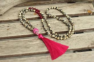 Náhrdelníky - Mala náhrdelník s minerálmi jaspis a jadeit - 10767305_