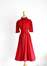 - Čerešňové košeľové šaty s viazaním  - 10767919_