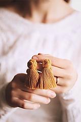 Náušnice - Macramé náušnice (horčicové) - 10768328_