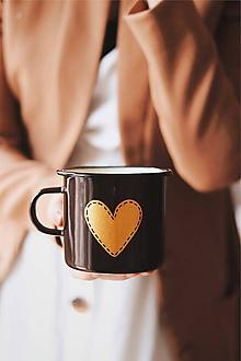 Nádoby - Smaltovaný hrnček - Zlaté srdco II. - 10768360_