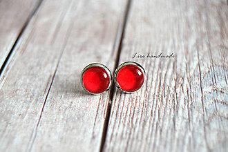 Náušnice - Červené (8mm) /strieborné lôžko/ - 10769453_