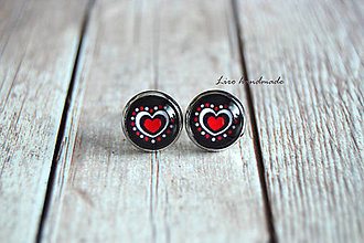 Náušnice - Folkové srdce (10mm) /strieborné lôžko/ - 10769515_