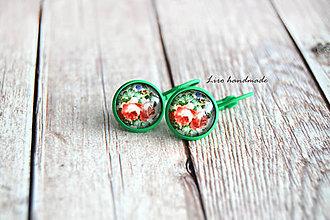 Náušnice - Ruže v zelenom (12mm) / zelené lôžko / fr. zapínanie - 10770511_