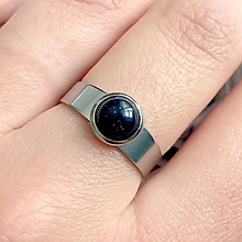 Sady šperkov - Mini Blue Sun Stone Steel Ring / Prsteň s modrým slnečným kameňom z chirurgickej ocele #2124 - 10770982_