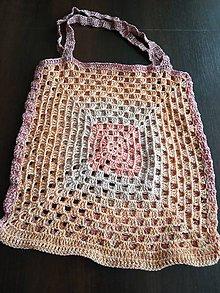 Nákupné tašky - háčkovaná sieťka marhuľková - 10771350_