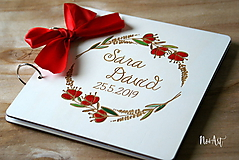 Papiernictvo - Svadobná kniha hostí, drevený fotoalbum -  venček12 - 10769624_