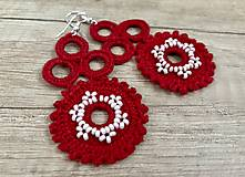 Náušnice - Červené čipkované náušnice - 10769912_