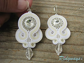 Náušnice - Simple teardrop...soutache (White/Ivory) - 10770358_