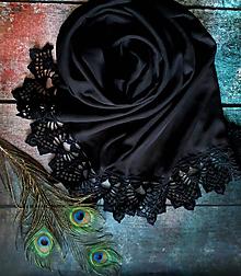 Šály - Zahrada černého páva - šifonový šál s krajkou - 10769425_