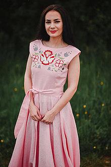 Šaty - Dlhé ľanové šaty s výšivkou - 10772721_