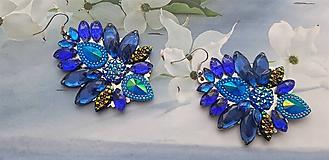 Náušnice - modré kryštálové kamienkové náušnice - 10772034_
