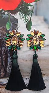 Náušnice - zeleno hnedo zlaté náušnice - 10772075_