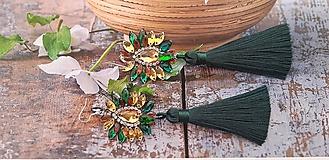 Náušnice - zeleno hnedo zlaté náušnice - 10772079_