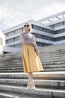 Sukne - Žltá midi sukňa - 10770841_