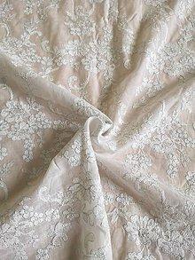 Textil - Vyšívaný batist strieborná niť - 10769909_