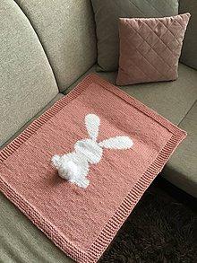 Textil - Staroružová deka : 75-60 ❤️ biely zajko ❤️ - 10772013_