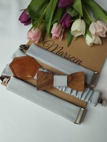 Doplnky - Pánsky drevený motýlik a traky - 10769886_