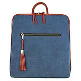 Batohy - Dámsky ruksak z talianskej prírodnej hovädzej kože, imitácia rifloviny - 10772217_
