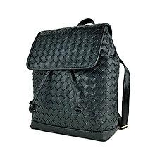 Batohy - Ručne pletený kožený batoh z pravej hovädzej kože, čierna farba - 10769101_