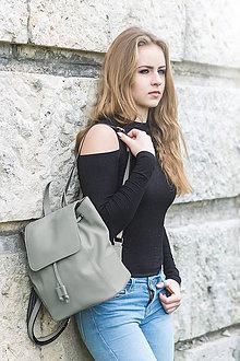 Batohy - Moderný kožený ruksak z pravej hovädzej kože v šedej farbe - 10771522_