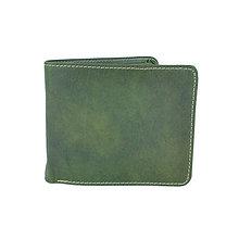 Tašky - Peňaženka z prírodnej kože v zelenej farbe, ručne tamponovaná - 10772196_