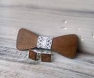 """Doplnky - Sada drevený motýlik """"Svadba"""" - tmavý - 10769649_"""