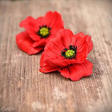 Náušnice - Červené maky - visiace náušnice zlaté háčiky - 10771537_