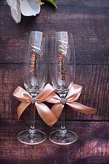 Nádoby - Svadobné poháre s menami zvislo Golden rose - 10772343_
