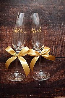 Nádoby - Svadobné poháre s menom zvislo zlaté - 10772637_