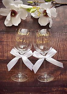 Nádoby - Svadobné poháre Nevesta Ženích bielo zlaté - 10772698_