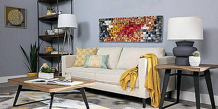Dekorácie - Závesný drevený mozaikový 3D obraz - vzor 5 - 10772943_