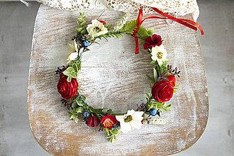 Ozdoby do vlasov - Kvetinový venček ,,folk ranunculus,, - 10769571_