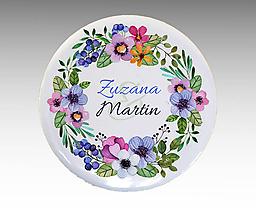 Darčeky pre svadobčanov - Svadobné buttony (odznaky) VENČEK 3 - 10769340_