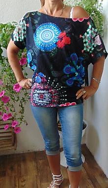 Tričká - Ležérní tričko mandaly s růží - spadlé rameno - 10772528_