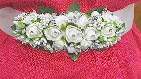 Opasky - Svadobný bielo strieborný kvetinový opasok - 10770539_