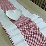Úžitkový textil - DORKA-červené káro malé-stredový obrus 160x40 - 10771606_