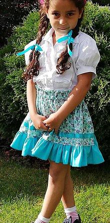 Detské oblečenie - Suknička tyrkysová - 10771978_