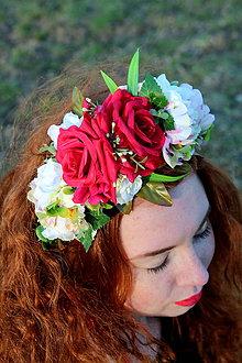 Ozdoby do vlasov - Červena ružička čelenka do vlasov - 10770048_