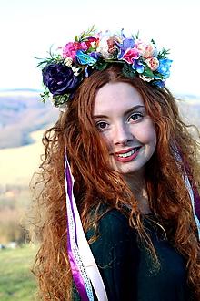 Ozdoby do vlasov - Fialový kvet čelenka do vlasov - 10770096_