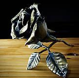 Dekorácie - Kovaná ruža s lístkami - 10769688_