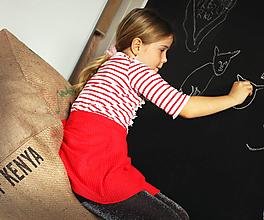 Úžitkový textil - Sedací vak z vreca na kávu- kocka - 10769541_