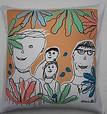 Úžitkový textil - vankúš z detskej kresby - 10769438_