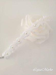 Náramky - Biely svadobný náramok - 10771548_