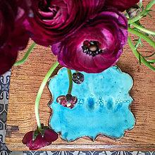 Nádoby - tyrkysový keramický tanier, podnos - 10775362_
