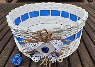Dekorácie - Košíček  (košíček modrý so srdiečkom) - 10774005_