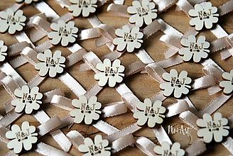 Pierka - Svadobné pierka béžové, štvorlístok - 10773824_