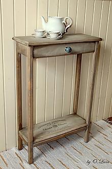 Nábytok - Konzolový stolík so šuflíkom - Patisserie Parisienne - 10775010_