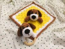 Hračky - Háčkovaný mojkáčik + hrkálka psík - 10773139_