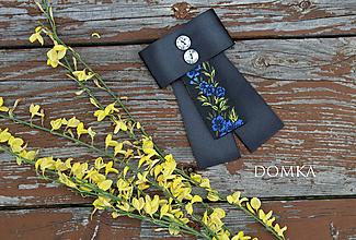 Odznaky/Brošne - Dámska čierno kvetovaná mašľa / brošňa (Modrá / kráľovská) - 10776527_